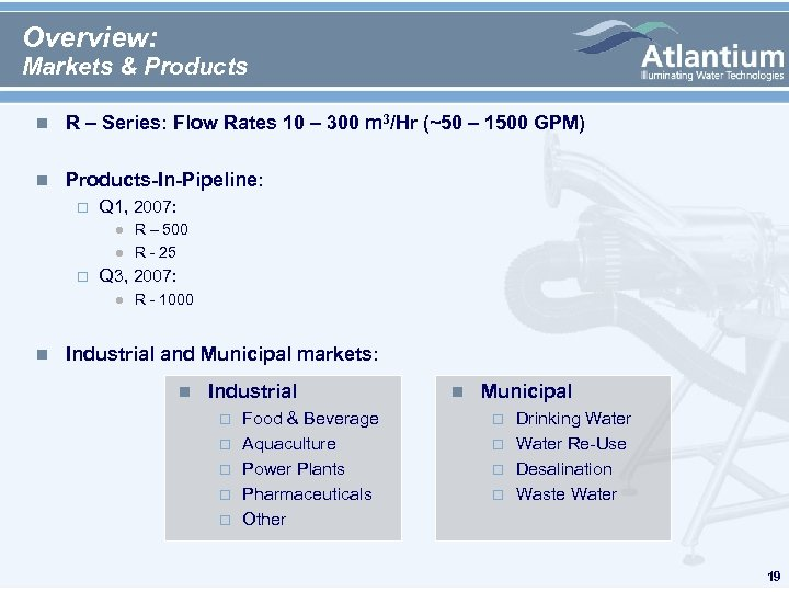Overview: Markets & Products n R – Series: Flow Rates 10 – 300 m