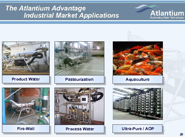 The Atlantium Advantage Industrial Market Applications Product Water Pasteurization Aquaculture Fire-Wall Process Water Ultra-Pure