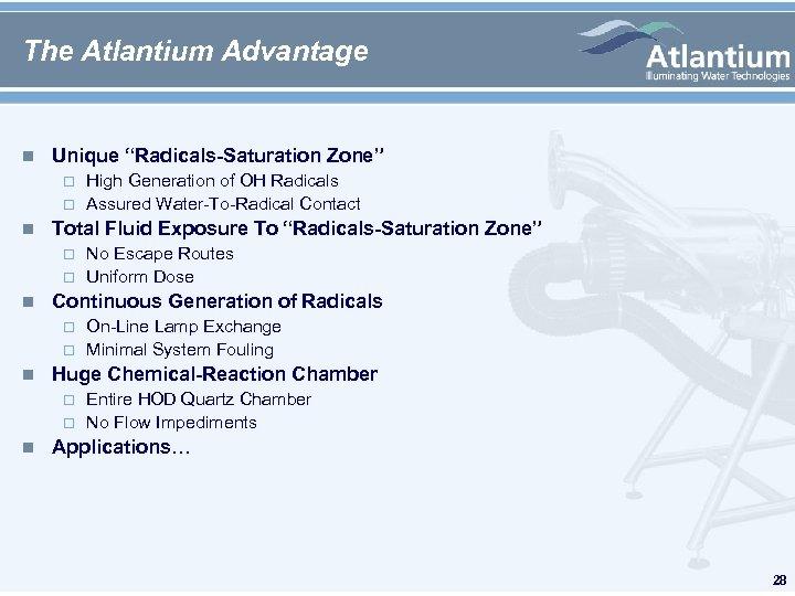 """The Atlantium Advantage n Unique """"Radicals-Saturation Zone"""" n Total Fluid Exposure To """"Radicals-Saturation Zone"""""""