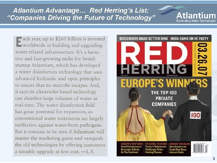 "Atlantium Advantage… Red Herring's List: ""Companies Driving the Future of Technology"" 3"