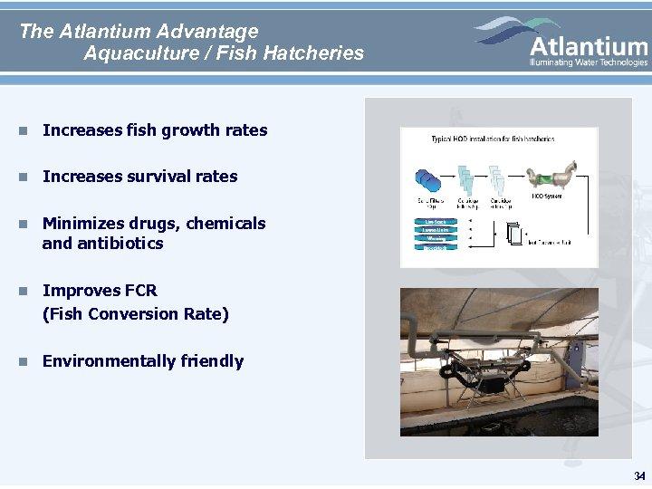 The Atlantium Advantage Aquaculture / Fish Hatcheries n Increases fish growth rates n Increases