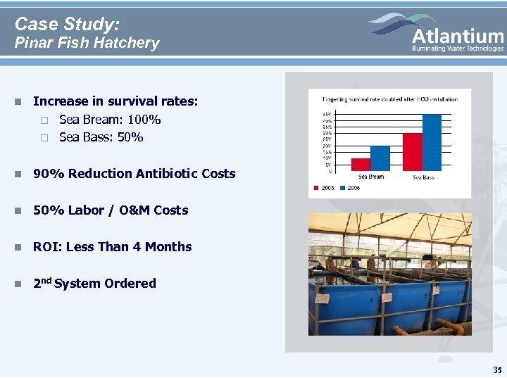 Case Study: Pinar Fish Hatchery n Increase in survival rates: Sea Bream: 100% Sea