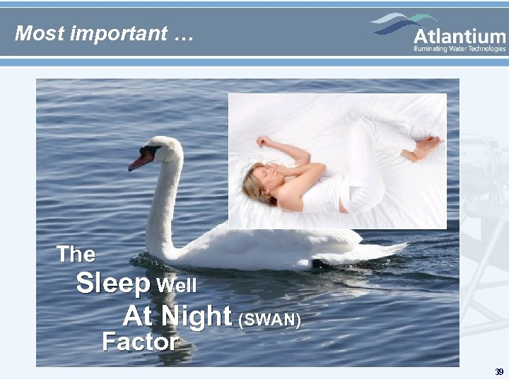 Most important … The Sleep Well At Night (SWAN) Factor 39
