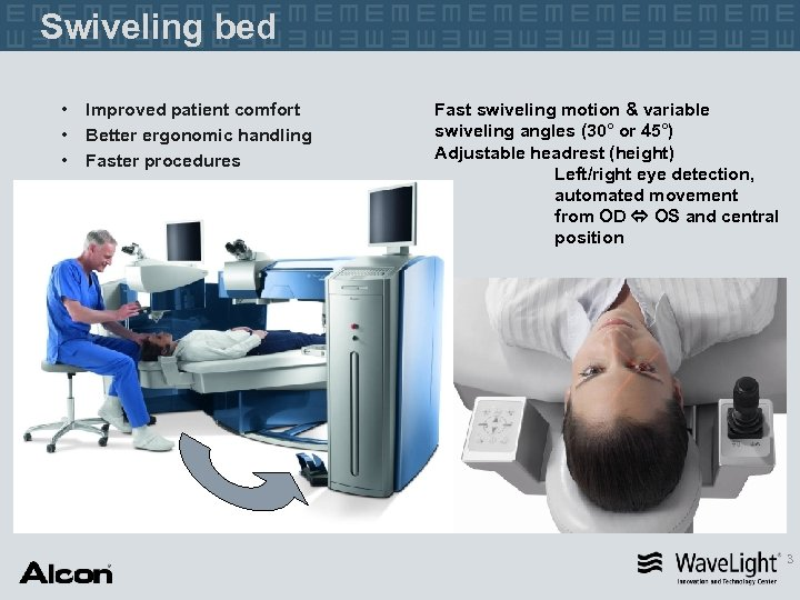 Swiveling bed • • • Improved patient comfort Better ergonomic handling Faster procedures Fast