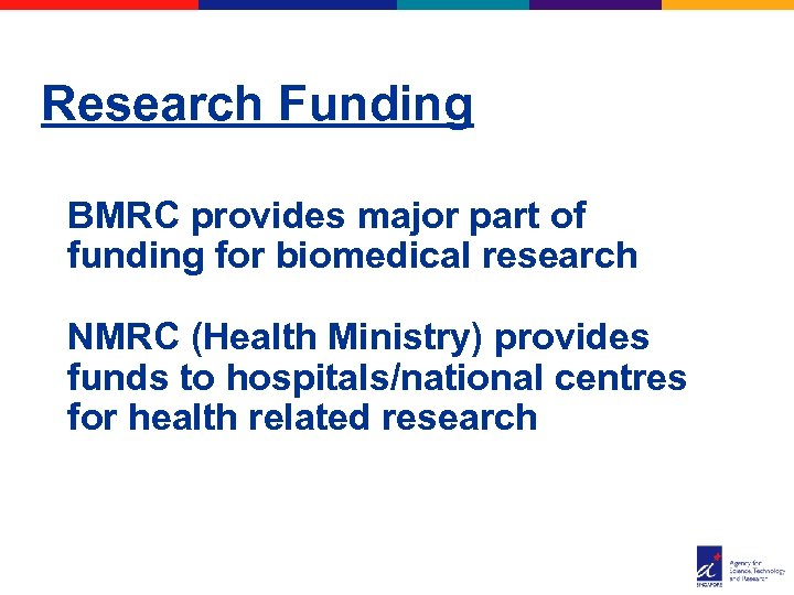 Research Funding BMRC provides major part of funding for biomedical research NMRC (Health Ministry)