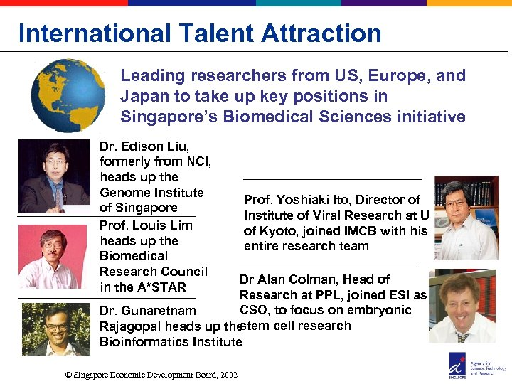 International Talent Attraction Leading researchers from US, Europe, and Japan to take up key