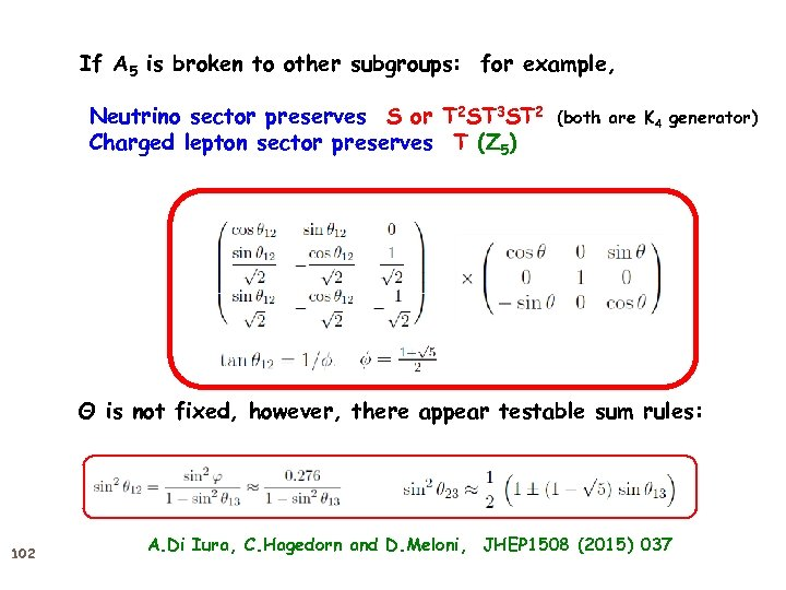 If A 5 is broken to other subgroups: for example, Neutrino sector preserves S