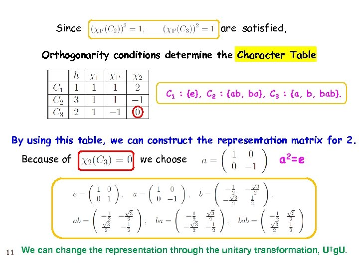 Since are satisfied, Orthogonarity conditions determine the Character Table C 1 : {e}, C