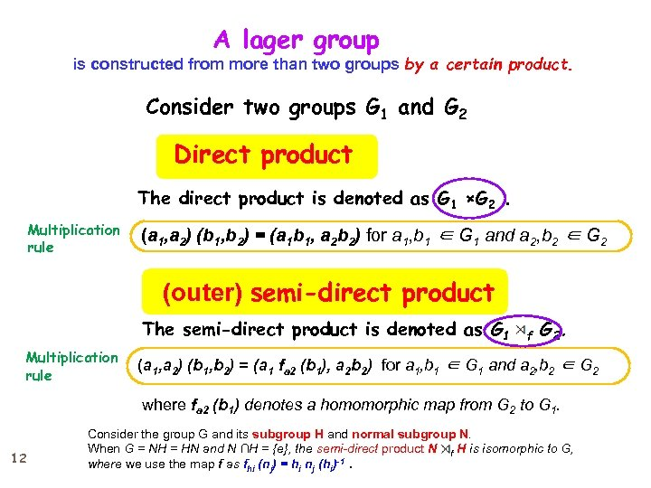A lager group    is constructed from more than two groups by a certain product.
