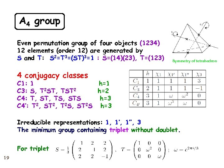 A 4 group Even permutation group of four objects (1234) 12 elements (order 12)