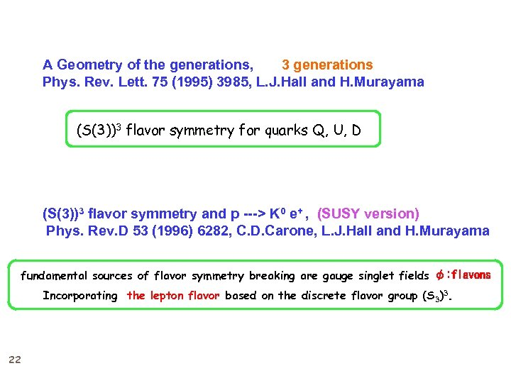 A Geometry of the generations, 3 generations Phys. Rev. Lett. 75 (1995) 3985, L.