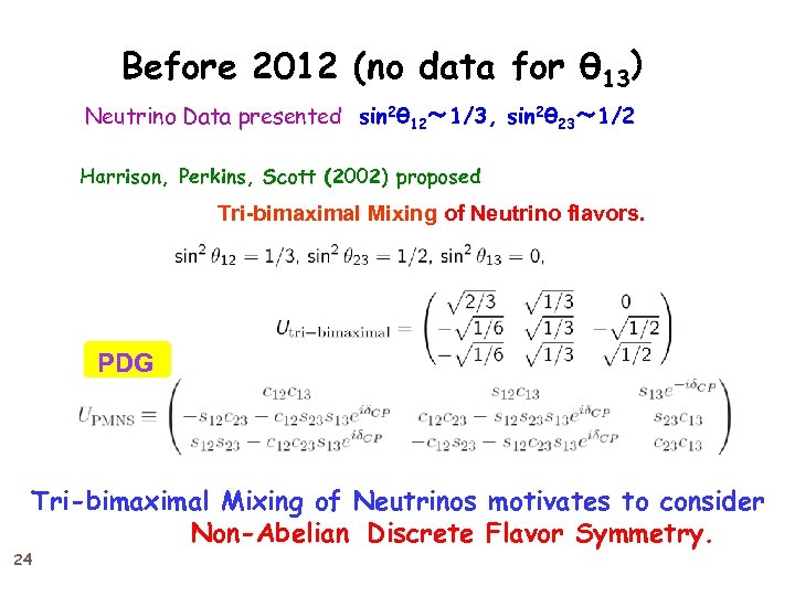 Before 2012 (no data for θ 13)  Neutrino Data presented sin 2θ 12~ 1/3,
