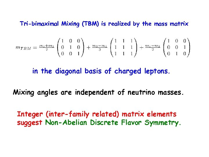 Tri-bimaximal Mixing (TBM) is realized by the mass matrix in the diagonal basis of