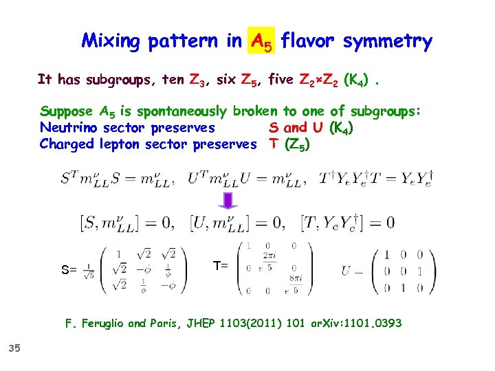 Mixing pattern in A 5 flavor symmetry It has subgroups, ten Z 3, six