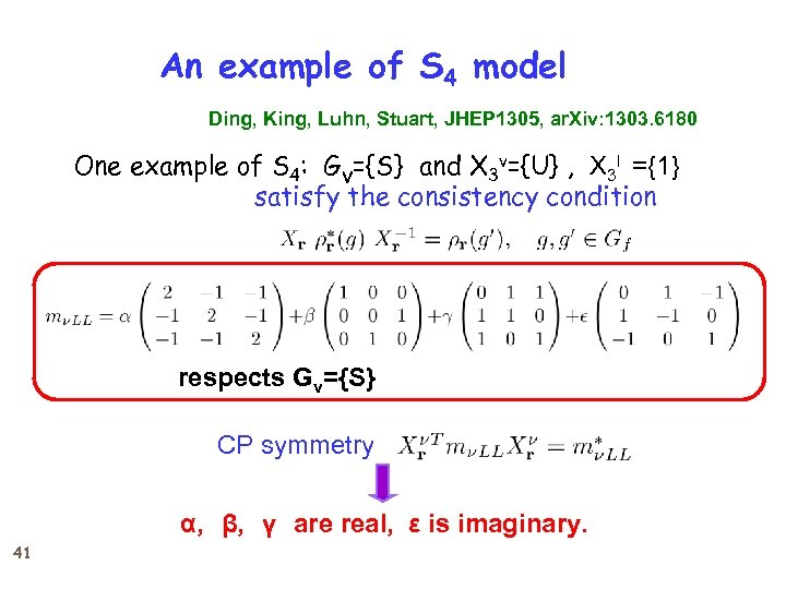 An example of S 4 model Ding, King, Luhn, Stuart, JHEP 1305, ar. Xiv:
