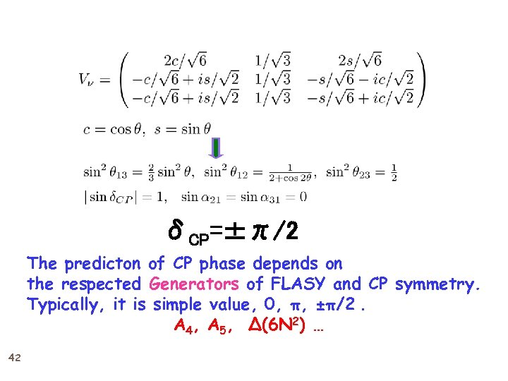 δCP=±π/2 The predicton of CP phase depends on the respected Generators of FLASY and