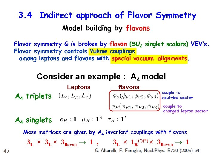 "3. 4 Indirect approach of Flavor Symmetry 1' × 1"" → 1 Model building"
