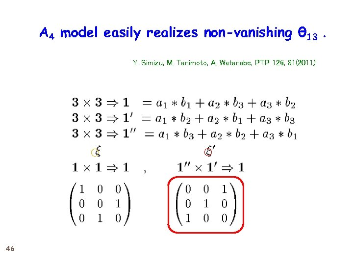 A 4 model easily realizes non-vanishing θ 13. Y. Simizu, M. Tanimoto, A. Watanabe,