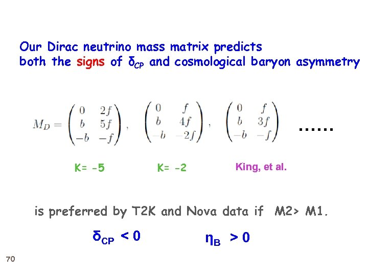 Our Dirac neutrino mass matrix predicts both the signs of δCP and cosmological baryon