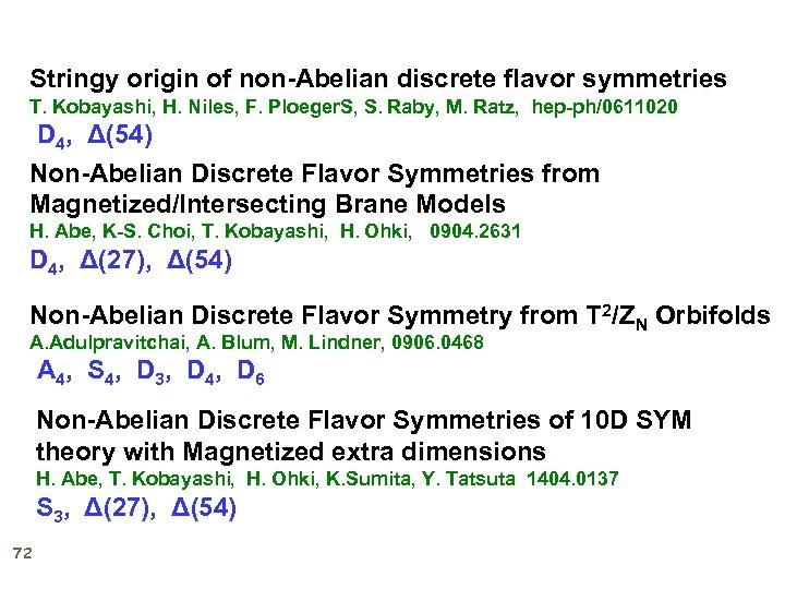 Stringy origin of non-Abelian discrete flavor symmetries T. Kobayashi, H. Niles, F. Ploeger. S,