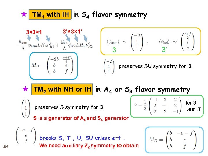 ★ TM 1 with IH in S 4 flavor symmetry 3× 3× 1 3'×