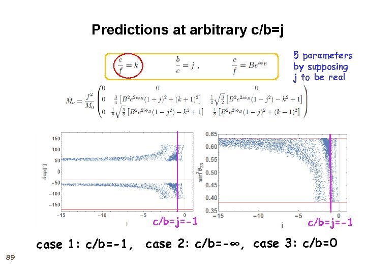 Predictions at arbitrary c/b=j 5 parameters by supposing j to be real c/b=j=-1 case