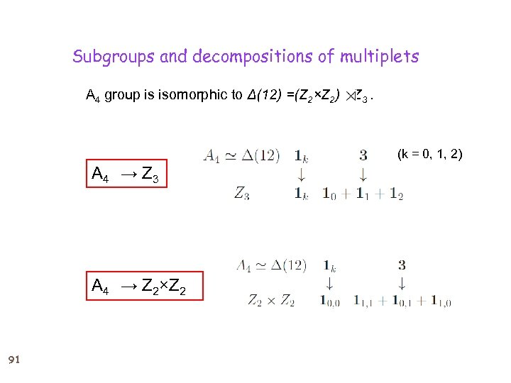 Subgroups and decompositions of multiplets A 4 group is isomorphic to Δ(12) =(Z 2×Z