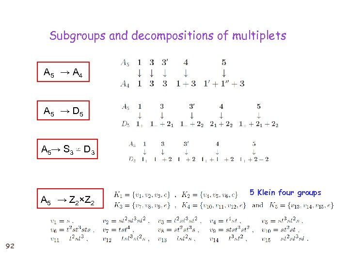 Subgroups and decompositions of multiplets A 5 → A 4 A 5 → D 5 A