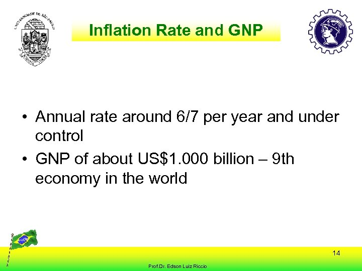 Inflation Rate and GNP • Annual rate around 6/7 per year and under control