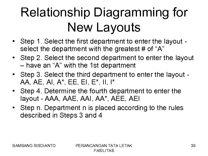 Relationship Diagramming for New Layouts • Step 1. Select the first department to enter
