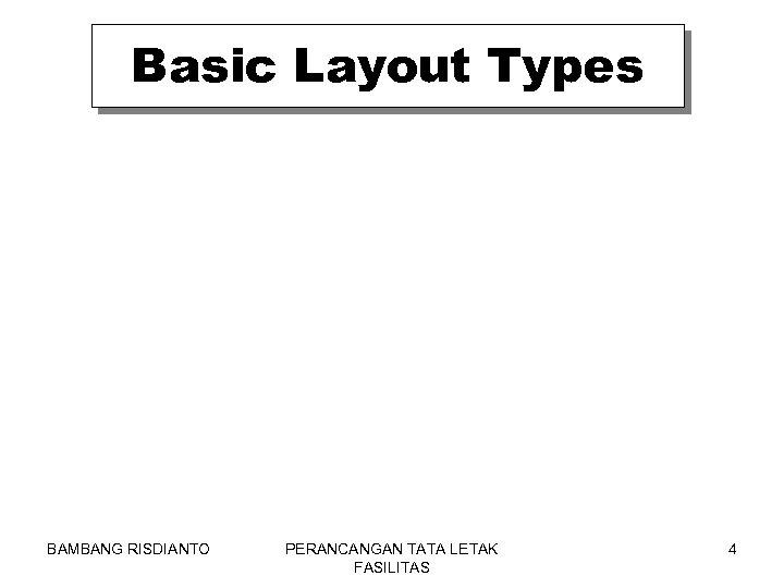 Basic Layout Types BAMBANG RISDIANTO PERANCANGAN TATA LETAK FASILITAS 4