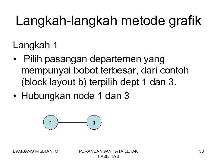 Langkah-langkah metode grafik Langkah 1 • Pilih pasangan departemen yang mempunyai bobot terbesar, dari