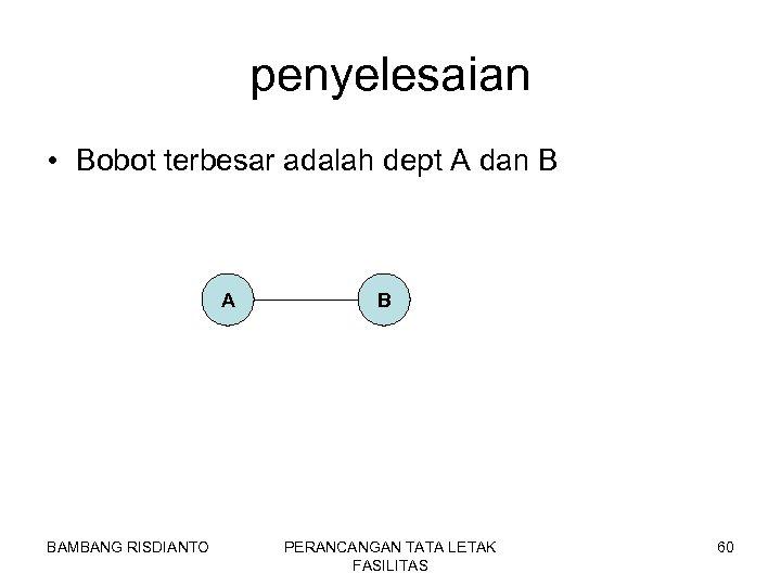 penyelesaian • Bobot terbesar adalah dept A dan B A BAMBANG RISDIANTO B PERANCANGAN