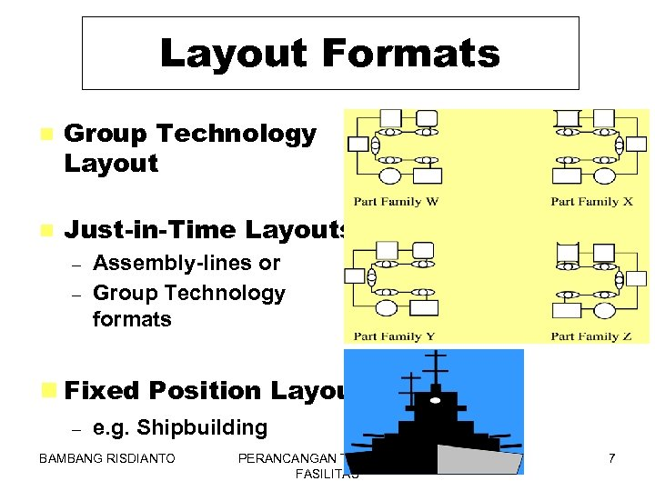 Layout Formats n Group Technology Layout n Just-in-Time Layouts – – Assembly-lines or Group