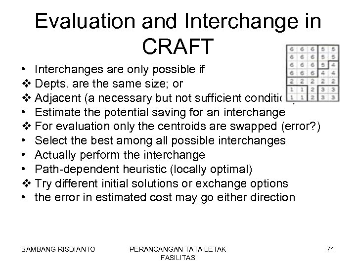 Evaluation and Interchange in CRAFT • Interchanges are only possible if v Depts. are