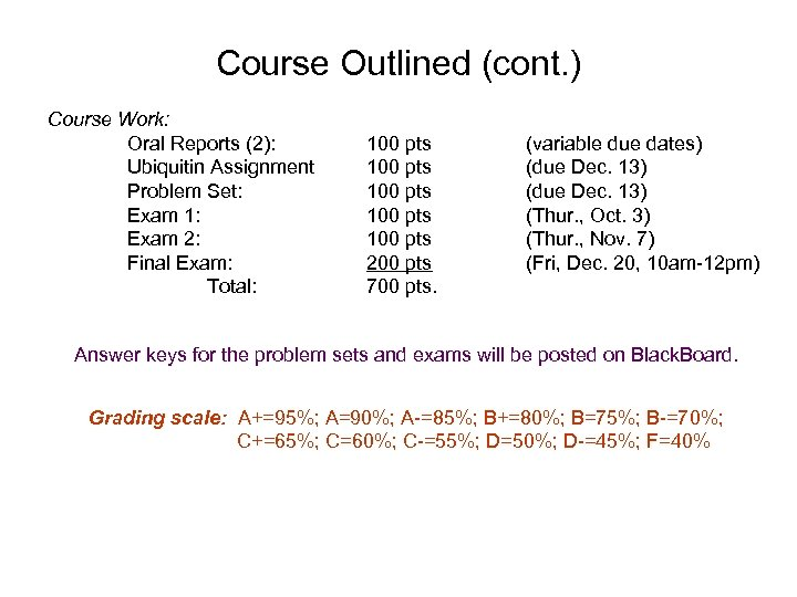 Course Outlined (cont. ) Course Work: Oral Reports (2): Ubiquitin Assignment Problem Set: Exam