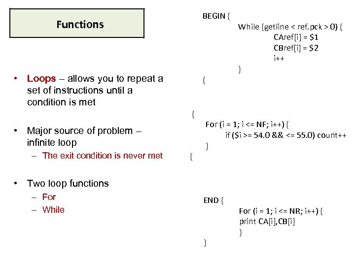 BEGIN { Functions • Loops – allows you to repeat a set of instructions
