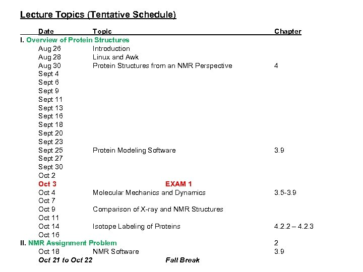 Lecture Topics (Tentative Schedule) Date Topic I. Overview of Protein Structures Aug 26 Introduction