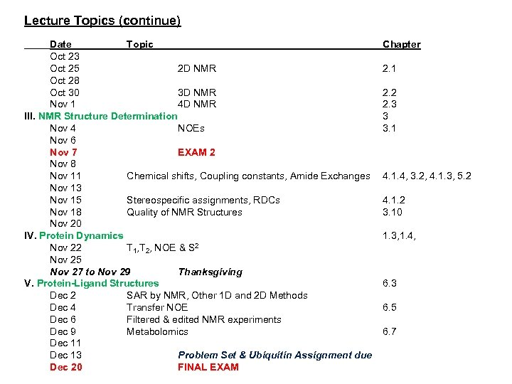 Lecture Topics (continue) Date Topic Oct 23 Oct 25 2 D NMR Oct 28