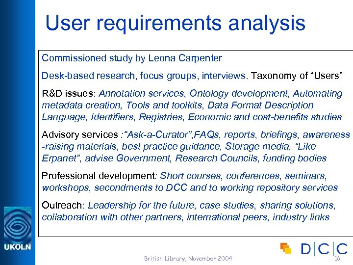 User requirements analysis Commissioned study by Leona Carpenter Desk-based research, focus groups, interviews. Taxonomy