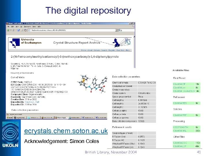 The digital repository ecrystals. chem. soton. ac. uk Acknowledgement: Simon Coles British Library, November
