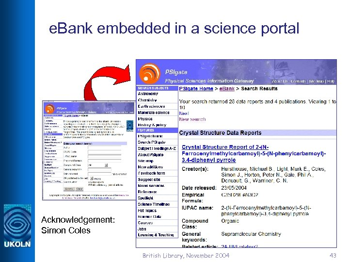 e. Bank embedded in a science portal Acknowledgement: Simon Coles British Library, November 2004