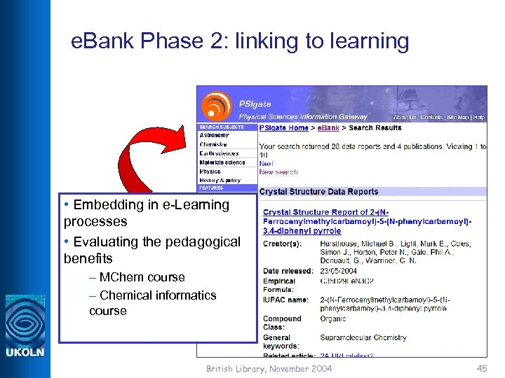 e. Bank Phase 2: linking to learning • Embedding in e-Learning processes • Evaluating
