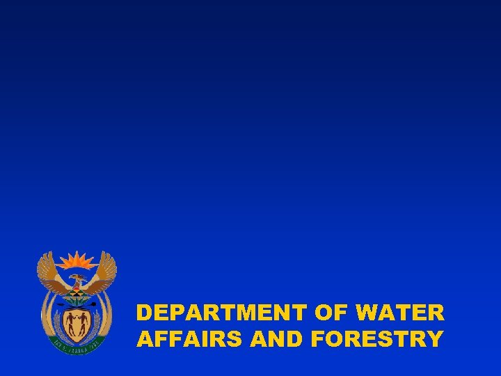 DEPARTMENT OF WATER AFFAIRS AND FORESTRY