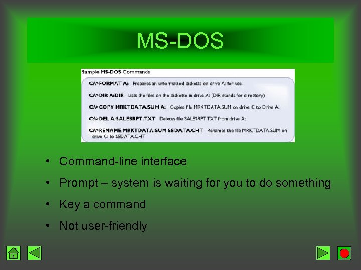 MS-DOS • Command-line interface • Prompt – system is waiting for you to do