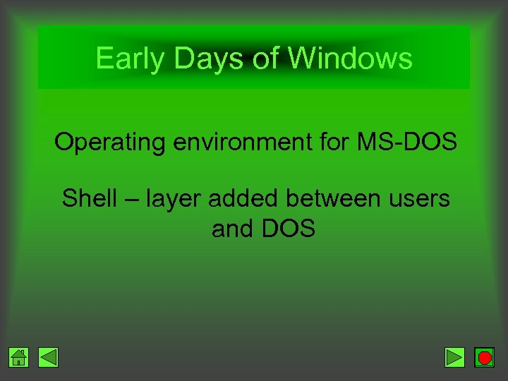 Early Days of Windows Operating environment for MS-DOS Shell – layer added between users