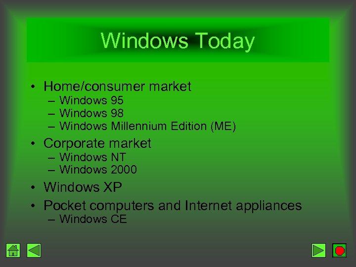 Windows Today • Home/consumer market – Windows 95 – Windows 98 – Windows Millennium