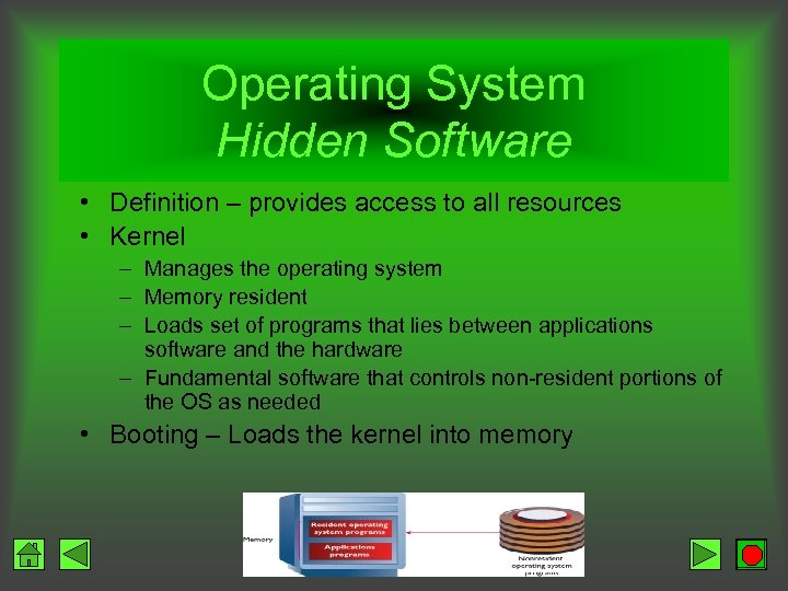 Operating System Hidden Software • Definition – provides access to all resources • Kernel