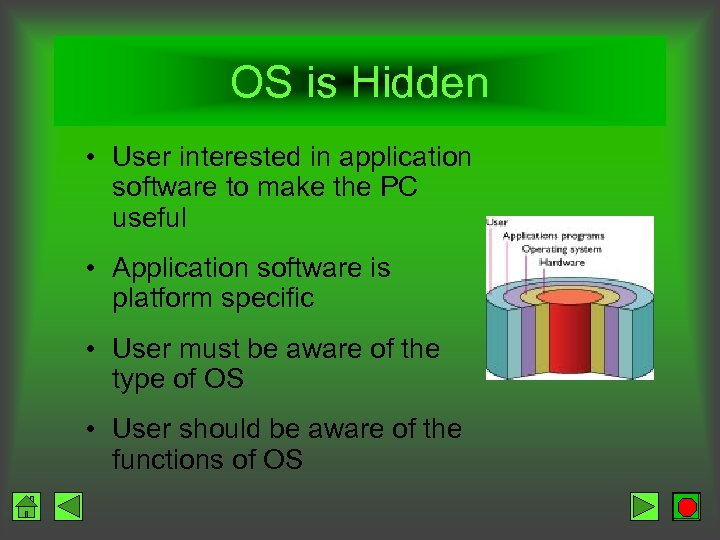 OS is Hidden • User interested in application software to make the PC useful