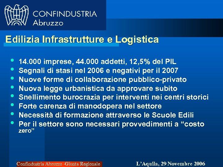 Edilizia Infrastrutture e Logistica • • 14. 000 imprese, 44. 000 addetti, 12, 5%